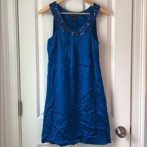 INC Silk Shift Dress in Electric Blue